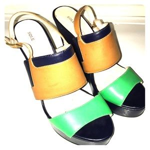 So Joan sole society sandal green and navy wedge